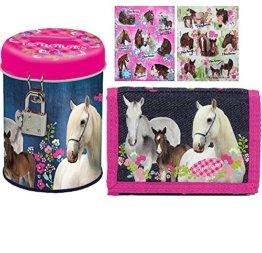 3 tlg. Pferde Set - Geldbörse + Spardose + 16 Pferde Aufkleber - Geldbeutel -