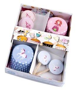 48 oder 96-teiliges Muffin und Cupcake Deko Set - Prinzessin, Schloss und Einhorn (48-teiliges Set) -