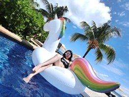 Aufblasbare Einhorn, Pool-Einhorn, ZQL, Riesigen aufblasbaren Einhorn, Float-Spielzeug, Pool schwimmen, Pool Float-Halterungen, PVC-aufblasbarer Schwebebett für 2-3 Personen, für Open Space für Allgemein /Erwachsene /Kinder, 275 cm, bis 200kg -