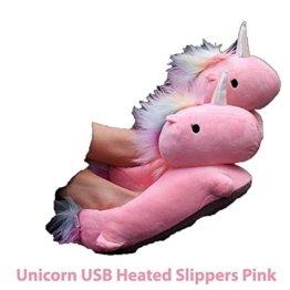 Beheizbare Einhorn Pantoffeln Pink - importiert Unicorn USB Heated Slippers -