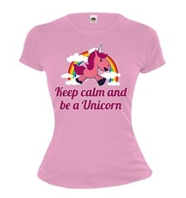 buXsbaum Girlie T-Shirt Keep calm and be a Unicorn-M-Lightpink-z-direct -