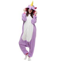 Casa Pyjama Tieroutfit Schlafanzug Tier Onesies Sleepsuit mit Kapuze Erwachsene Unisex Overall Halloween Kostüm Jumpsuit (M, Einhorn Lila) -