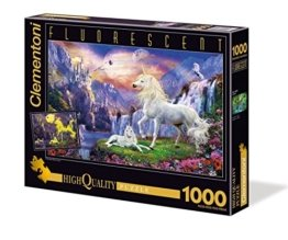 Clementoni 39285.8 - 1000 T Fluoreszierend Einhorn, Klassische Puzzle -