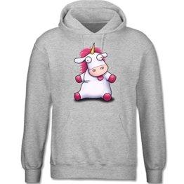 Comic Shirts - Einhorn Agnes so flauschig - Fluffy Unicorn - M - Grau meliert - F421 - langärmeliger Herren Kapuzenpullover / Hoodie -