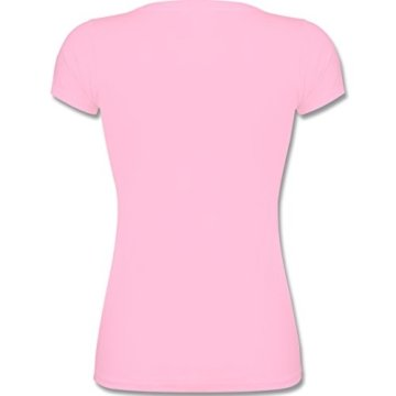 Comic Shirts - Einhorn Agnes so flauschig - Fluffy Unicorn - M - Rosa - F288N - Kurzarm T-Shirt für Damen mit weitem Rundhalsausschnitt -