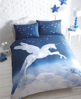 Einhorn-Bettbezug-Set schwarz weiß, 48 % Baumwolle / 52 % Polyester, weiß, King Size -
