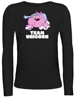 Einhorn Damen Longsleeve Langarm T-Shirt mit Team Unicorn Motiv von ShirtStreet, Größe: M,schwarz -