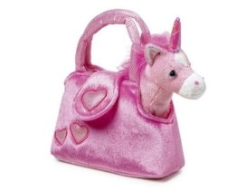 """Einhorn  """"Fina"""" in der Tasche aus kuschelweichem Plüsch, mit einer niedlichen Handtasche ideal zum Mitnehmen, für kleine Damen ab 3 Jahren -"""