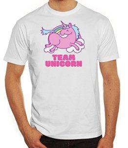 Einhorn Herren T-Shirt mit Team Unicorn Motiv von ShirtStreet, Größe: L,weiß -