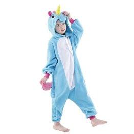 Einhorn Pyjamas Kostüm Jumpsuit -Karneval Cosplay Tier Schlafanzug Onepiece Kinder Unisex Kigurumi LATH.PIN(125/Größe:140-150cm, Blau Kinder) -