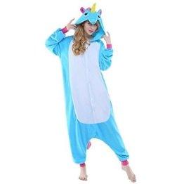 Einhorn Pyjamas Kostüm Jumpsuit -Karneval Cosplay Tier Schlafanzug Onesies Erwachsene Unisex Kigurumi (Medium, Blau) -