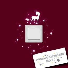 Einhorn Wandtattoo mit Sternen fluoreszierend für Lichtschalter leuchtend fluoreszierend nachtleuchtend M952 -