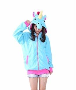 Erwachsene Männer Damen unisex Blau Große Heck Einhorn Pegasus Anime Cosplay Kostüm Exotische Neuheit Hoodies Zipper Sportbekleidung Lässige Sportbekleidung Kapuzenpullover Trainingsanzüge Bekleidung -