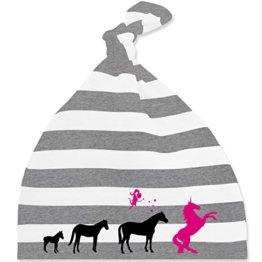 Evolution Baby - Evolution Einhorn - Unisize - Grau meliert/Weiß - BZ15S - gestreifte Baby Mütze mit Knoten / Bommel für Jungen und Mädchen -