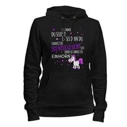 Fashionalarm Damen Kapuzenpullover Sei immer du selbst! Es sei denn, du kannst ein Einhorn sein | Fun Hoodie für Unicorn Fans, Farbe:schwarz;Größe:S -