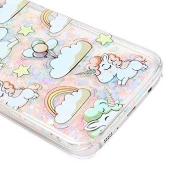 Galaxy S7 Flüssig Glitzer Hülle,Samsung Galaxy S7 Case,Schutzhülle Samsung Galaxy S7 Hülle Durchsichtige Hardcase,Vioela Cute Lovely Cartoon Baby Einhorn Cloud Regenbogen Sterne Ballon Muster Lustig 3D Flüssigkeit Schutzhülle Transparent Handytasche Glänzend Glitzer Rosa Blaue Herzen Fließen Flüssig Handyhülle Handy Hülle Case Tasche Crystal Case Durchsichtig Schutzhülle Etui für Samsung Galaxy S7 mit Stylus -