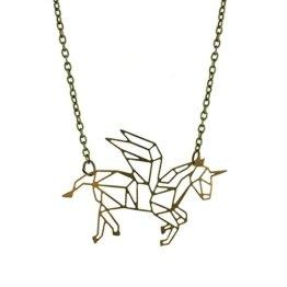 Geometrische Einhorn Halskette -