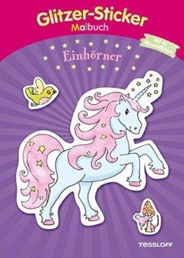 Glitzer-Sticker-Malbuch. Einhörner: Mit 45 glitzernden Stickern! (Malbücher und -blöcke) -