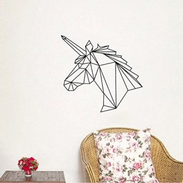 gossipboy vinyl wandtattoo schwarz geometrie design abstrakt einhorn kopf wand art. Black Bedroom Furniture Sets. Home Design Ideas
