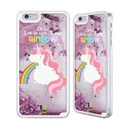 Head Case Designs Einhorn Regenbogenkotze Rosa Handyhülle mit flussigem Glitter für Apple iPhone 6 Plus / 6s Plus -