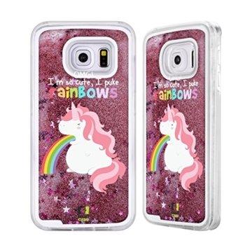 Head Case Designs Einhorn Regenbogenkotze Rosa Handyhülle mit flussigem Glitter für Samsung Galaxy S6 -