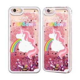 Head Case Designs Einhorn Regenbogenkotze Rosa Handyhülle mit flussigem Glitter für Apple iPhone 6 / 6s -