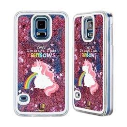 Head Case Designs Einhorn Regenbogenkotze Rosa Handyhülle mit flussigem Glitter für Samsung Galaxy S5 / S5 Neo -