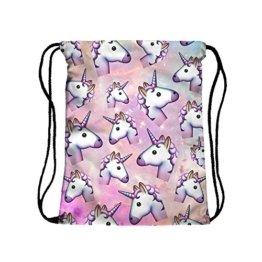 Hellathund ®3D Emoji Beuteltasche Hipster Disney Tasche Rucksack Turnbeutel Tasche mit brille tasche (einhorn) -