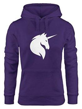 Hoodie Damen Einhorn Unicorn Sweatshirt Kapuze Kapuzenpullover Moonworks® lila XS -