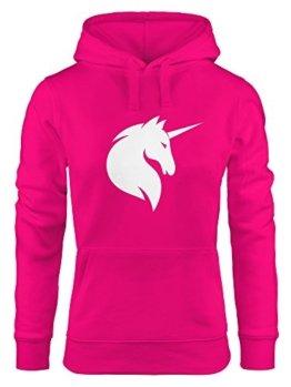 Hoodie Damen Einhorn Unicorn Sweatshirt Kapuze Kapuzenpullover Moonworks® pink XL -