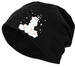 Jersey Beanie Mütze Wintermütze Stretch Unicorn Einhorn cutie -