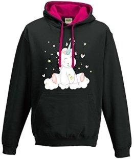 Kapuzenpulli Sweatshirt Shirt Damen Pullover Hoodie Unicorn Einhorn cutie (L) -