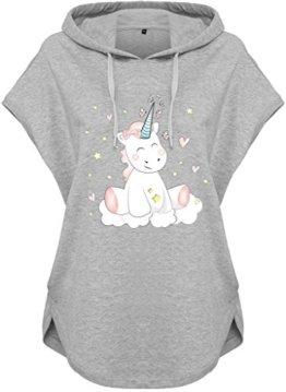Kawaii Hoodie Kapuzenhoodie Ladies Damen Kapuzenshirt Einhorn cutie (Motiv 51, Grau, XS) -