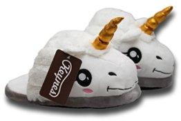 KEYNES - Einhorn Hausschuhe lustige Pantoffeln aus kuscheligem Plüsch 38/39 -