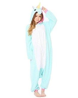 Kidslove Pyjama Tieroutfit Tierkostüme Schlafanzug Tier Onesize Sleepsuit mit Kapuze Erwachsene Unisex Jumpsuits Overall Damen Herren Pyjama Fleece,Einhorn;Gr.S -