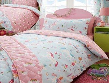 Kidz Club Bettwäsche Design: Magische Einhörner Kinder-Einzelbett-Bettbezug und -Kissenbezug, Blau -