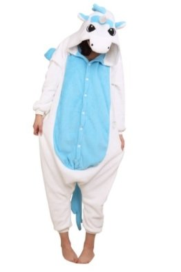 Kigurumi Unisex Tier-Onesie, Kapuzenkostüm, Schlafanzug, - blaues Einhorn - Größe: LARGE (165-175CM) -