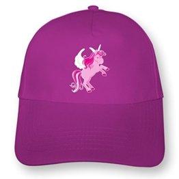 Kinder Kappe Pinkes Einhorn Mütze Cap Kindermütze für Kids Beechfield Junior Original 5 Panel Cap OneSize pink/farbiger Aufdruck -