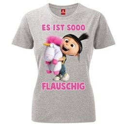 King of Merch - Damen T-Shirt - Minions Es ist so flauschig Agnes Einhorn Unicorn Scarlet Overkill Herb Kevin Bob Stuart Gru Flux Phil Margo Edith Vector Einauge Banana Minion Mission Yellow Grau XS -