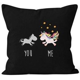 Kissenbezug You and Me Einhorn Unicorn Deko-Kissen 40x40 Baumwolle MoonWorks® schwarz Pullover -