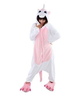 LATH.PIN Rosa Einhorn Pyjama Tieroutfit Tierkostume Schlafanzug Sleepsuit mit Kapuze Erwachsene Unisex Fleece-Overall Kostum Gr. S -