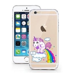 "licaso® Hülle für iPhone 6 6S 4,7"" TPU Einhorn Wolke Bunt iPhone 6 Case transparent Sketch klare Einhörner Schutzhülle iphone6 Tasche iPhone 6 Hülle Comic Hülle Unicorn Cases (iPhone 6 6S 4,7"", Einhorn Wolke) -"