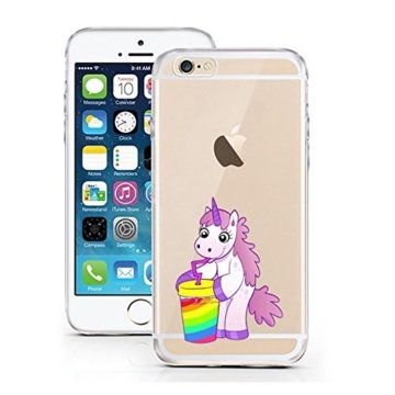 "licaso® iPhone 5S 5 SE 4"" TPU Einhorn Becher Hülle Sketch Unicorn Einhörner Case transparent klare Schutzhülle Disney Hülle iphone6 Tasche Cover (iPhone 5 5S SE, Einhorn Becher) -"