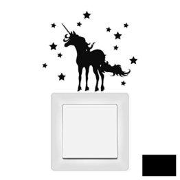 Lichtschaltertattoo Wandtattoo Wandbild Aufkleber Sticker Einhorn mit Sternen M1948 ausgewählte Farbe: *schwarz* -