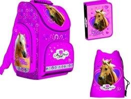 LITTLE FRIEND PFERD Pony Einhorn HORSE 3er SCHULRANZEN RANZEN SCHULRUCKSACK TASCHE FEDERMAPPE SET -