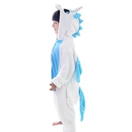 M&A Kinder Tier-Schlafanzug, Jumpsuit Winter, Blaues Einhorn Gr.110/116(Herstellergröße:M/95) -