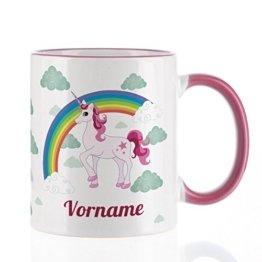 Privat Tasse Tasse mit Einhorn und Wunschnamen für Mädchen -