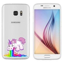 """Samsung Galaxy S7 Hülle von licaso® aus TPU schützt Dein S7 5,1"""" Einhorn Kotzi Unicorn Einhörner Schutz-Hülle Cover Case transparent klare Schutzhülle galaxys6 galaxys7 Tasche Silikon Style (Samsung Galaxy S7, Einhorn Kotzi) -"""