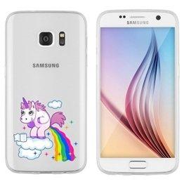 """Samsung Galaxy S7 Hülle von licaso® aus TPU schützt Dein S7 5,1"""" Einhorn Wolke Unicorn Einhörner Schutz-Hülle Cover Case transparent klare Schutzhülle galaxys6 galaxys7 Tasche Silikon Style (Samsung Galaxy S7, Einhorn Wolke) -"""