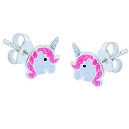 SL-Silver Ohrringe Kinderohrringe Einhorn Pferd 925 Silber -